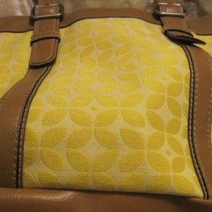 ROOMY YELLOW CLOTH FOSSIL TOTE WITH TAN TRIM